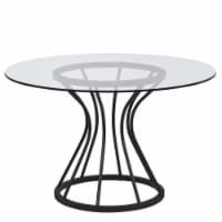 Armen Living Zurich Round Dining Table in Black Finish and 48  Glass Top - 1