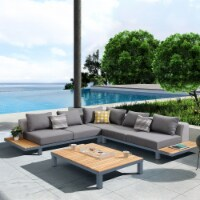 Polo 4 piece Outdoor Sectional Set with Dark Gray Cushions & Modern Accent Pillows - 1