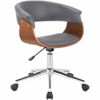 Bellevue Mid-Century Office Chair in Chrome Finish with Grey Faux Leather and Walnut Veneer - 1