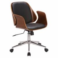 Armen Living Santiago Faux Leather Swivel Office Chair in Black - 1