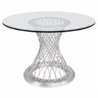 Calypso Contemporary Dining Table in Brushed Stainless Steel with Clear Tempered Glass Top - 1