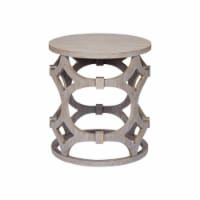 Armen Living Tuxedo Round End Table with Gray Finish and Gray Top - 1