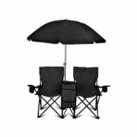 GoTeam Double Folding Camping Chair Set w/ Shade Umbrella & Cooler Bag, Black - 1 Piece