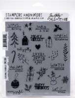 Tim Holtz Cling Stamps 7 X8.5 -Seasonal Scribbles - 1