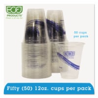 Eco EPCR12PK Recycled Content Clear Plastic Cold Drink Cups  14 oz.  Clear  50/Pack - 50