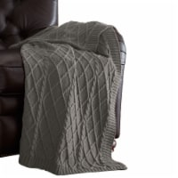 Creuse Cable Knitted Cotton Throw with Diamond Pattern The Urban Port, Gray, Saltoro Sherpi - 1 unit