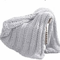 Dreux Acrylic Cable Knitted Chunky Throw The Urban Port, Silver, Saltoro Sherpi - 1 unit