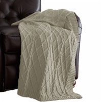 Creuse Cable Knitted Cotton Throw with Diamond Pattern The Urban Port, Beige, Saltoro Sherpi - 1 unit