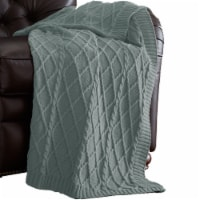 Creuse Cable Knitted Cotton Throw with Diamond Pattern The Urban Port, Olive Green, Saltoro - 1 unit