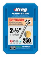 Kreg  No. 10   x 2-1/2 in. L Square  Pocket-Hole Screw  250 count - Case Of: 1; Each Pack - Count of: 1