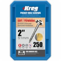 Kreg  No. 8   x 2 in. L Square  Zinc-Plated  Pocket-Hole Screw  250 pk - Case Of: 1; Each - Count of: 1