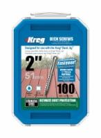 Kreg  No. 8   x 2 in. L Square  Flat Head Deck Screws  100 lb. 100 pk - Case Of: 1; Each Pack - Count of: 1