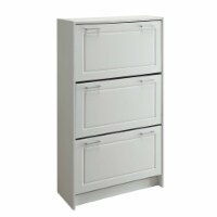 4D Concepts Sepulveda Deluxe Triple Wooden Shoe Cabinet in White - 1