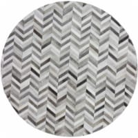 Bashian H112-GY-6 RND-RH18 Santa Fe Collection Chevron Contemporary Leather Hand Stitched Rou
