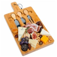 Bamboo Cheese Board and Knife Set, 16x8  Charcuterie Board with Magnetic Cutlery Storage - 1