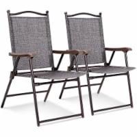 Costway Set of 2 Patio Folding Sling Back Chairs Camping Deck Garden Beach Gray - 2 PCS
