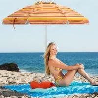 Costway 6.5FT Patio Beach Umbrella Sun Shade Tilt Carry Bag - 6.5 FT