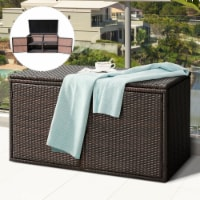Gymax 88 Gallon Rattan Storage Box Outdoor Patio Container Seat w/ Door Mix Brown - 1 unit