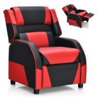 Gymax Gaming Recliner Sofa PU Leather Armchair for Kids Youth w/ Footrest - 1 unit
