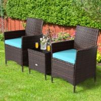 Gymax 3PCS Outdoor Rattan Conversation Set Patio Furniture Set w/ Blue Cushions - 1 unit
