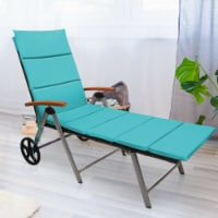 Gymax Folding Patio Rattan Lounge Chair Cushioned Aluminum Adjust Wheel Turquoise - 1 unit