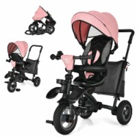 Gymax 7-In-1 Kids Baby Tricycle Folding Steer Stroller w/ Rotatable Seat - 1 unit