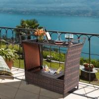 Gymax Rattan Patio Bar Cart Beverage Bar Counter Table w/ Wheels & Ice Bucket - 1 unit