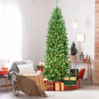 Gymax 7 ft Pre-lit Pencil Christmas Tree Hinged Fir Tree Holiday Decor w/ LED Lights - 1 unit