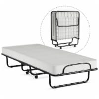 Gymax Rollaway Folding Metal Bed Memory Foam Mattress Cot Guest Made in Italy - 1 unit