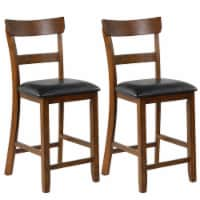 Gymax Set of 2 Barstools Counter Height Chairs w/Leather Seat & Rubber Wood Legs - 1 unit