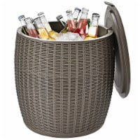 Gymax 9.5-Gal Patio Ice Cooler Bucket Cool Bar Table Cocktail Side Table w/ Lid Black/Brown - 1 unit