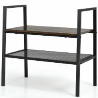 Gymax 1/2/3PC 2- Tier Storage Shelf Stackable Shoe Shelf Stand Display Rack Home - 1 unit