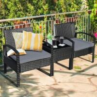 Gymax 3PCS Patio Rattan Conversation Furniture Set Outdoor Yard w/ Grey Cushions - 1 unit