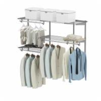 Gymax Custom Closet Organizer Kit 3 to 5 FT Wall-mounted Closet System w/Hang Rod Grey - 1 unit