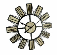 Black Metal and Wood Open Frame Modern Art Oversized Wall Clock 23 inch - One Size