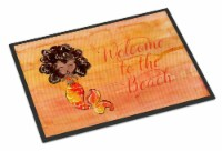 Mermaid Welcome Orange Indoor or Outdoor Mat 18x27 - 18Hx27W