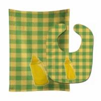 Carolines Treasures  BB8639STBU Backyard BBQ Mustard Baby Bib & Burp Cloth - 1