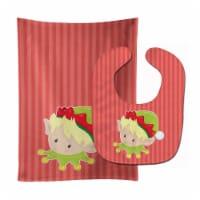 Carolines Treasures  BB8666STBU Christmas Blonde Boy Elf Baby Bib & Burp Cloth - 1