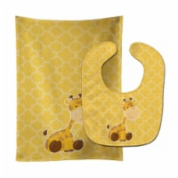 Carolines Treasures  BB8609STBU Giraffe Baby Bib & Burp Cloth - 1