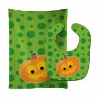 Carolines Treasures  BB9109STBU Halloween JackOLantern Baby Bib & Burp Cloth - 1