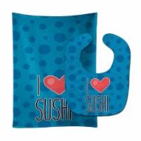 Carolines Treasures  BB8811STBU I Love Sushi Baby Bib & Burp Cloth - 1