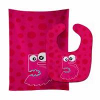 Carolines Treasures  BB8855STBU Monster Month 5 Baby Bib & Burp Cloth - 1