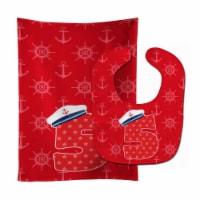 Carolines Treasures  BB8876STBU Nautical Month 5 Baby Bib & Burp Cloth