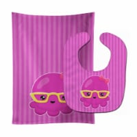 Nautical Pink Octopus with Glasses Baby Bib & Burp Cloth - 1