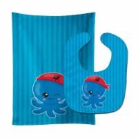 Carolines Treasures  BB8913STBU Nautical Pirate Octopus #2 Baby Bib & Burp Cloth - 1