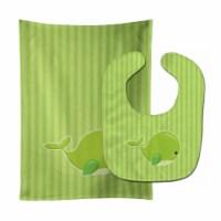 Nautical Whale Green Charlie Baby Bib & Burp Cloth