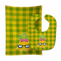 Pineapple Face Girl with Glasses Baby Bib & Burp Cloth - 1