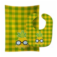 Pineapple Face with Glasses Baby Bib & Burp Cloth - 1