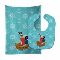 Carolines Treasures  BB8968STBU Pirate Ship Blue Baby Bib & Burp Cloth