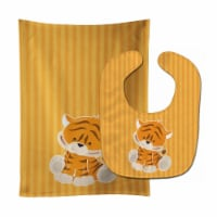 Carolines Treasures  BB8611STBU Tiger Baby Bib & Burp Cloth - 1